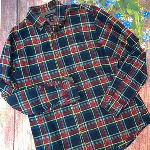 Lands' End Traditional Fit Plaid Flannel Shirt L